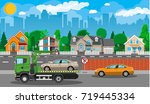 tow truck takes car. parking is ... | Shutterstock .eps vector #719445334