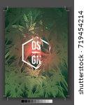 tropical palm tree retro mosaic ... | Shutterstock .eps vector #719454214