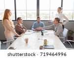the businessman refuses to... | Shutterstock . vector #719464996