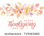 thanksgiving typography.hand...   Shutterstock .eps vector #719465683