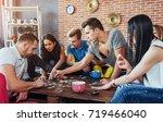 group of creative friends... | Shutterstock . vector #719466040