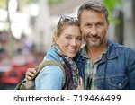 trendy mature couple on a... | Shutterstock . vector #719466499