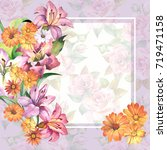 flowers frame.watercolor | Shutterstock . vector #719471158