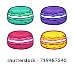 colorful macaroons set isolated ... | Shutterstock .eps vector #719487340