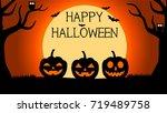 halloween background with... | Shutterstock .eps vector #719489758
