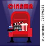movie time. popcorn bucket ... | Shutterstock .eps vector #719496358