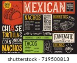 mexican menu for restaurant and ... | Shutterstock .eps vector #719500813