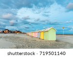multicolored bathing cabins... | Shutterstock . vector #719501140