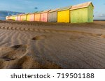 multicolored bathing cabins...   Shutterstock . vector #719501188