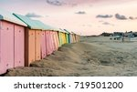 multicolored bathing cabins...   Shutterstock . vector #719501200