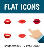 flat icon mouth set of laugh ... | Shutterstock .eps vector #719512030