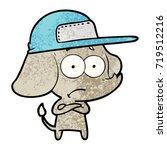 cartoon unsure elephant wearing ... | Shutterstock .eps vector #719512216