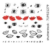 trendy pattern with hand drawn... | Shutterstock . vector #719521279