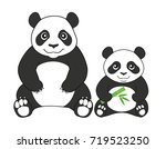 two pandas isolated on white... | Shutterstock .eps vector #719523250