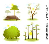 trees and bush summer landscape ... | Shutterstock . vector #719543374