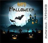 halloween background with... | Shutterstock . vector #719543458