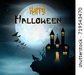 halloween background with wolf... | Shutterstock . vector #719543470
