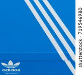 Small photo of BANGKOK, THAILAND - JULY 2, 2017: Adidas Sign On Adidas Shoe Box. Founded in 1924 is a German multinational corporation that designs and manufactures sports shoes