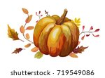 vector floral watercolor style... | Shutterstock .eps vector #719549086