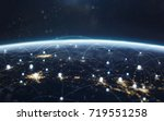 Small photo of Data exchange and global network over the world. Earth at night, city lights from orbit. Elements of this image furnished by NASA