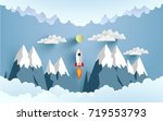 rockets glide over the... | Shutterstock .eps vector #719553793