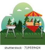 summer picnic outdoor barbecue... | Shutterstock .eps vector #719559424