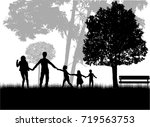 family silhouettes in nature.   Shutterstock .eps vector #719563753