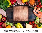selection of healthy food....   Shutterstock . vector #719567458