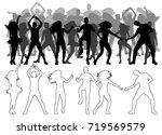 sketch of dancing people ...