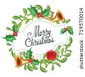 christmas wreath  for ... | Shutterstock .eps vector #719570014