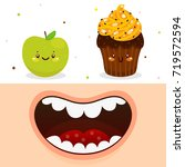 cartoon mouth and cute apple... | Shutterstock .eps vector #719572594