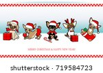 christmas and new year card... | Shutterstock .eps vector #719584723