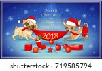 christmas and new year card... | Shutterstock .eps vector #719585794