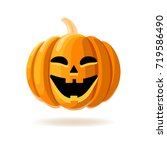 happy face halloween pumpkin... | Shutterstock .eps vector #719586490