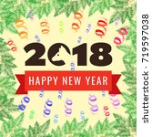 happy new year 2018 greeting... | Shutterstock .eps vector #719597038