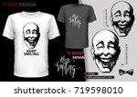 white and black men's t shirt ... | Shutterstock .eps vector #719598010