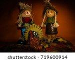 Scarecrow Couple With Turkey O...