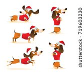 Set Of Cartoon Brown Dachshund...
