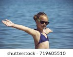 beautiful girl smile with... | Shutterstock . vector #719605510