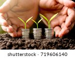 the three rows of coins were... | Shutterstock . vector #719606140