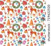 christmas seamless pattern ....   Shutterstock . vector #719622520