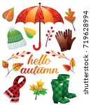autumn icons and object set.... | Shutterstock .eps vector #719628994