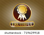 gold badge with ribbon icon... | Shutterstock .eps vector #719629918