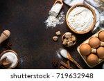 baking background. ingredients... | Shutterstock . vector #719632948
