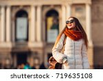 smiling girl in sunglasses... | Shutterstock . vector #719635108