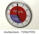 watch hanging on a wall with 2... | Shutterstock . vector #719637553
