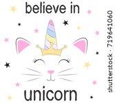 cute fantasy cat princess... | Shutterstock .eps vector #719641060