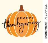 happy thanksgiving pumpkin icon ... | Shutterstock .eps vector #719644966