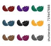 broken eggshell icon in black... | Shutterstock .eps vector #719647888