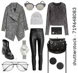 a set of fashionable clothes... | Shutterstock . vector #719648083